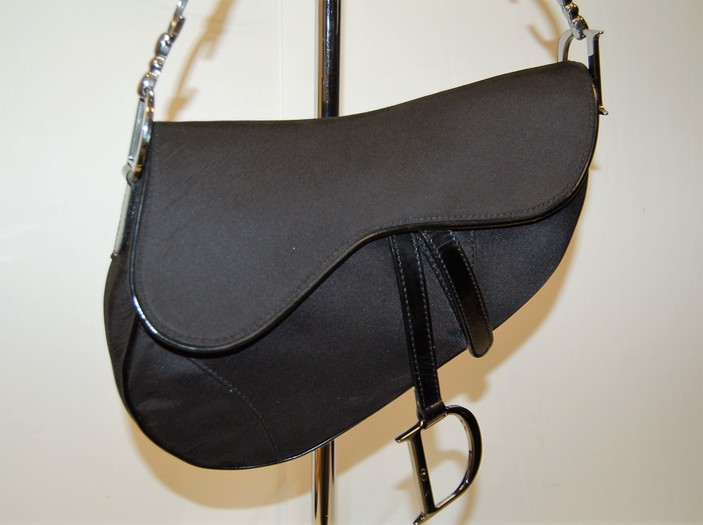 921a1f5a7f40 Christian Dior Patent Trim Nylon Saddle Bag