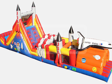 52' Rocket  Double Lane Obstacle Course Bounce House Waterslide WET or DRY, Obstacle Courses & Interactive Games - Jacksonville Florida Bounce House Rentals