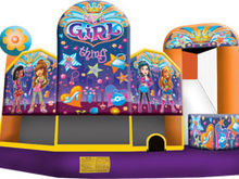 Girl Thing Theme 5-1 3D Combo Bounce House Hopper  WATER SLIDE or DRY SLIDE, Roo's Hopper Combos - Jacksonville Florida Bounce House Rentals