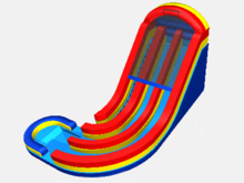 Double Corkscrew - 19' Bounce House Waterslide WET or DRY, Roo's Wet or Dry Slides - Jacksonville Florida Bounce House Rentals