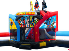 Justice League Double Challenge Bounce House Waterslide WET or DRY, Roo's Wet or Dry Slides - Jacksonville Florida Bounce House Rentals