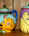 Happy Dogs Tea Pot and Canister