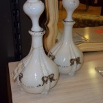 (W 1-2697) Set of 2 Milk Glass Decanters