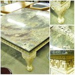 1-13831 Ball and Claw Granite (Maroon/Ebony/Sand) Table
