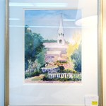 Framed and Matted Watercolor of Church