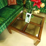 1-15911 Vintage Lane Glass Top Coffee Table