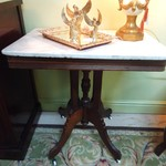 1-16186 Antique 19th Century Victorian Marble Top Walnut Parlor Table