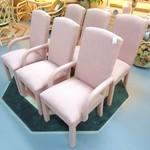 1-18220 6 Pale Pink Thomasville Custom Upholstered Chairs