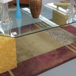 1-20356 Glass Top Coffee Table With Four Pillars