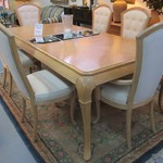 1-21067 Bernhart Dining Table 2 Leaves And Pads And 6 Chairs