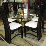 1-21711 Black And Glass Table With 6 Chairs