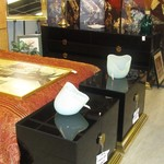 1-21794 Black Glass Dresser With Mirror  And Two Nightstands