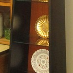 1-21914 Ethan Allen Tall Display With Shelves