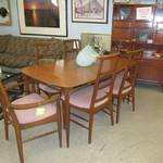1-22193 Mid Century Table 2 Leaves ,Pads, And 6 Chairs And China Hutch