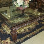 Large Glass And Iron Coffee Table