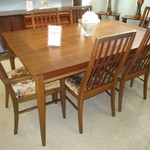 1-222846    1966 Mid Century Lane Table With Pads And 6 Chairs