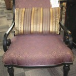 1-22210 Upholstered Chair With Black Wood Frame And Large Pillow