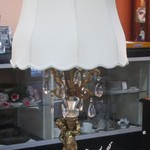 1-22405  Brass And Crystal Cherub Table Lamp