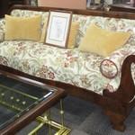 1-22417  Beidermeir Jacobean Sofa With Walnut Trim