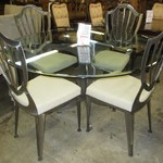 1-22466  Johnston Brush Metal And Glass Table With 4 Chairs