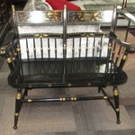 0-459  Black Bench With Arms