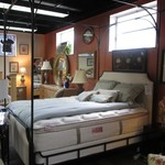 1-22068  (NEW)Queen Iron Canopy Bed With (NEW) Mattress And Box