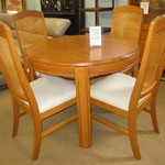 1-22616 Wood Dining Table With 2 Boards And 4 Cane Chairs