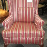 1-22730  Striped Wing Back Chair