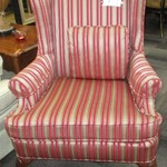 1-22729  Striped Wing Back Chair