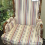 1-22645  Stripped Wing Back Chair