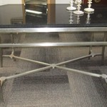 1-22954  Dark Granite Sofa Table With metal Base