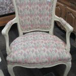 1-23032  French Chair With Floral Upholstery