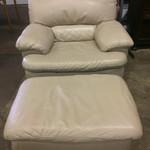 Leather Chair w/ Ottoman- Beige