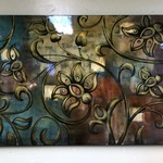 23527-Large Floral Picture w/ Bronze and Gold Highlights