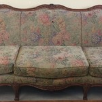 23794 French Provincial Green Floral Print Sofa