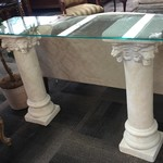 1-23887 Glass Top Console Table w/ 2 Pillars
