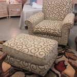1-23652 Upholstered Chair With Ottoman