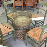 1-24239 Round Glass Green Table, 4 Chairs