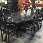 1-24268 Black Dining Room Table w/8 Chairs, 1 Leaf, Glass Protector
