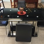 1-24442 Black Glass Table w/ 4 Chairs