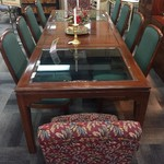 1-24486 Ethan Allen Dining Table, With 2 Leaves, Pads Included