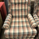 1-24736 Ethan Allen Plaid Upholstered Chair w/ Ottoman