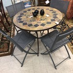 1-25304 Table w/ 4 Chairs & Stone Top