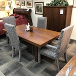 1-25358 Mid Century Table, 4 Chairs, 2 Leaves, Pads