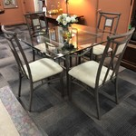 1-25437 Glass Table w/ 4 Chairs