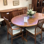1-25788 Danish Modern Table w/ 8 Chairs, Hide Away Leaf, Buffet (Sold As Set)