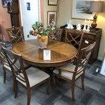 1-25765 Dining Table w/ 6 Chairs, Leaf, Pads, Buffet  (Sold As Set)