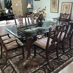 1-25987 Glass Top Dining Table w/ 6 Chairs and Pads