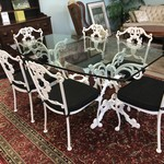 1-25999 Large Iron Glass Table With 6 Chairs