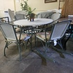 1-26183 Green Metal Table, 4 Chairs and Green Metal Rocker